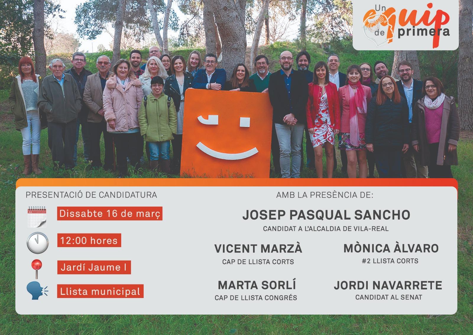 Marzà, Sorlí, Àlvaro y Navarrete se suman a la presentación oficial de candidatura de Compromís per Vila-real este sábado